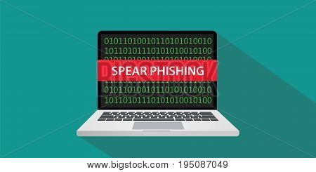 spear phishing concept illustration with laptop comuputer and text banner on screen with flat style and long shadow vector