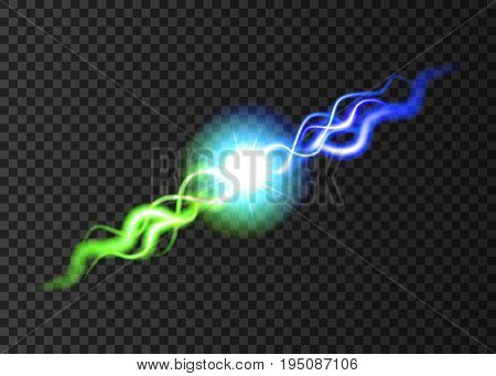 Clash Of Two  Neon Rays  On Transparent Background.