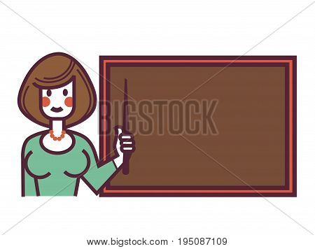 Female teacher in green dress and red beads with bob haircut, red cheeks and wooden pointer in hand stands near blackboard isolated vector illustration on white background. Cartoon woman on work.