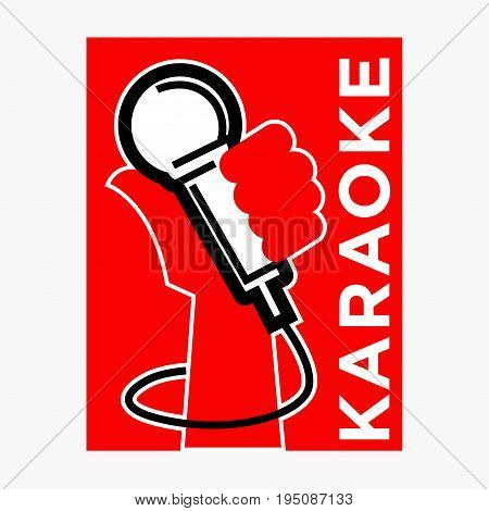 Karaoke club or party bar logo template of microphone in hand. Vector label for sing and dance disco nightclub or live concert