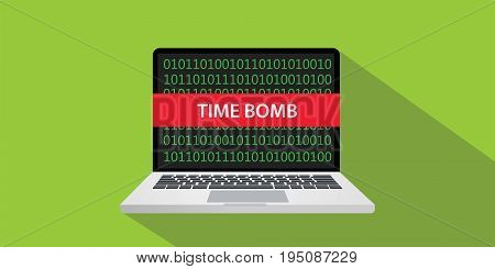 time bomb technique concept illustration with laptop comuputer and text banner on screen with flat style and long shadow vector