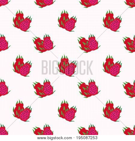 Seamless Background Image Colorful Tropical Fruit Red Meat Dragon Fruit Pitaya