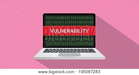 vulnerability concept illustration with laptop comuputer and text banner on screen with flat style and long shadow vector