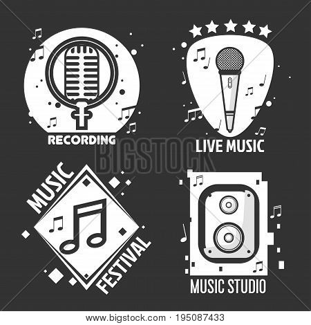 Music shop logo templates or recording studio labels of retro microphone and musical note. Vector isolated icons of loudspeaker, cassette and stars for live concert