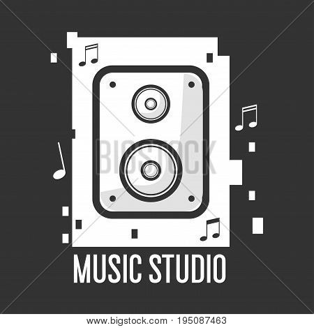 Music studio black and white logotype with vintage cassette surrounded with notes and sign underneath isolated vector illustration on black background. Creative place for song records emblem.