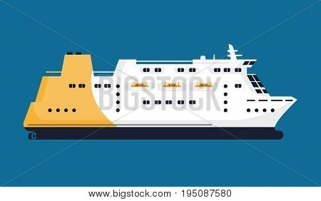 Passenger liner in white-yellow color isolated on blue background. Huge mean of transportation by water for carrying people and other cargo types closeup vector illustration in graphic design
