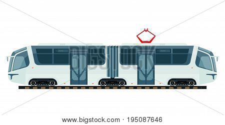 Tram public transport, modern urban tramcar or funicular electric passenger transportation vehicle. Vector isolated flat icon