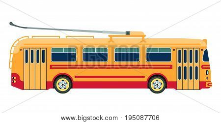 Trolleybus public transport, modern urban electric passenger transportation vehicle bus. Vector isolated flat icon