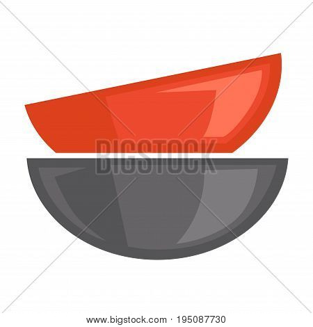 Two bowls standing red in grey isolated on white. Vector colorful poster in graphic design of closeup empty and deep contemporary dishware collection for serving food and eating tasty meal from