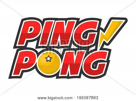Ping-pong competition big creative promotional logotype isolated vector illustration on white background. Huge red sign with yellow ball and thunder symbols. Sport contest advertisement poster.