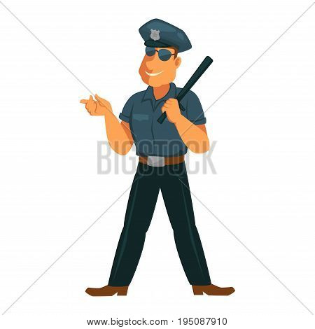 Strong policeman in good mood isolated on white. Vector colorful illustration in flat design of male person in police uniform of hat, blue shirt, dark trousers and sunglasses, holding stick.