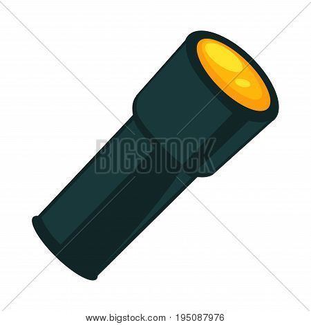 Flashlight in dark color isolated on white. Vector colorful illustration in graphic design of small and portable gadget in long shape that is source of light and is used by people individually
