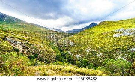 Franschhoek Pass in the Middagskransberg between the Franschhoek Valley and the Wemmershoek Mountains in the Western Cape province of South Africa