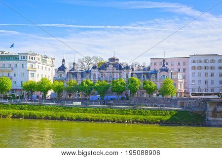 Beautiful view of Salzburg skyline with Salzach river in summer, Salzburg, Salzburger Land, Austria