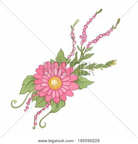 Bouquet of flowers. Stock line vector illustration.