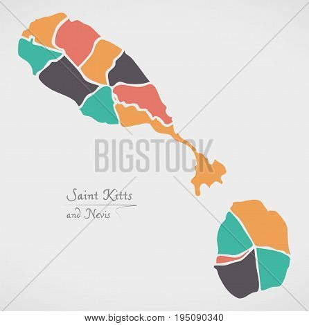 Saint Kitts And Nevis Map With States And Modern Round Shapes