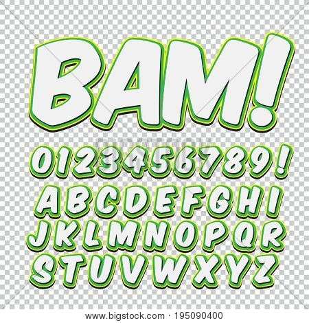 Creative high detail comic font. Alphabet of comics, pop art. Letters and figures for decoration of kids' illustrations, websites, posters, comics and banners.