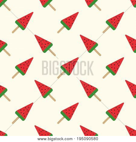 Seamless Background Image Colorful Watercolor Texture Water Melon Popsicle Pattern