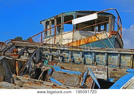 Wrecks of fishing boats at the Rostellec ships cemetery Crozon peninsula Finistere Brittany France