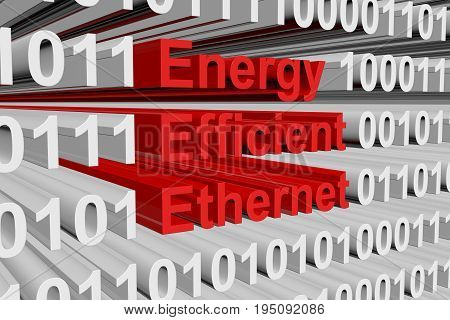 Energy Efficient Ethernet as a binary code 3D illustration