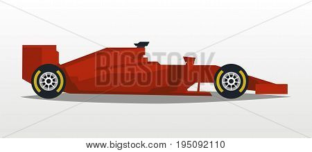 Red racing bolid. Sports car. Quick transport. Powerful engine. Aerodynamic body. Side view, isolated on background. Vector illustration