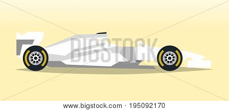 White racing bolid. Sports car. Quick transport. Powerful engine. Aerodynamic body. Side view, isolated on background. Vector illustration