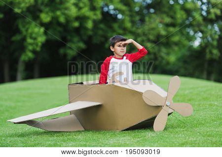 Cute Little Boy Pretending To Be Pilot Sitting In Diy Airplane While Playing In Park