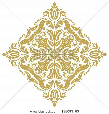Oriental golden square pattern with arabesques and floral elements. Traditional classic ornament. Vintage pattern with arabesques