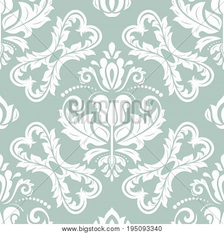 Oriental classic blue and white pattern. Seamless abstract background with repeating elements. Orient background