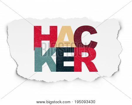 Security concept: Painted multicolor text Hacker on Torn Paper background