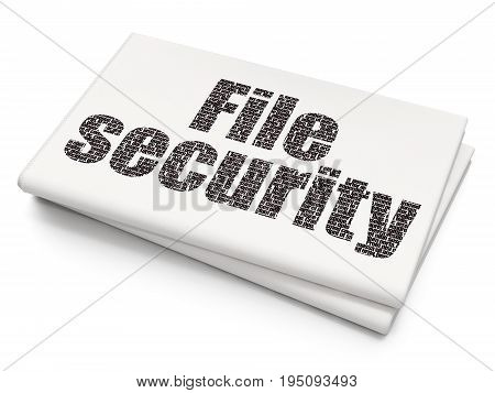 Privacy concept: Pixelated black text File Security on Blank Newspaper background, 3D rendering