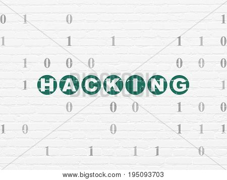 Privacy concept: Painted green text Hacking on White Brick wall background with Binary Code
