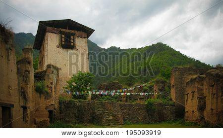 Exterior view to ruins of Drukgyel Dzong Paro Bhutan