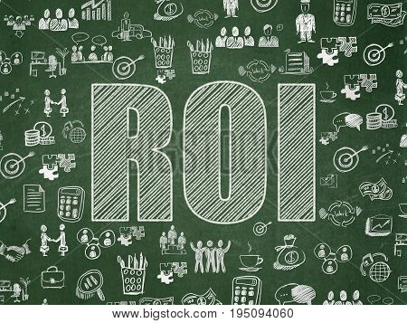Finance concept: Chalk White text ROI on School board background with  Hand Drawn Business Icons, School Board