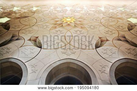 ABU DHABI UAE - January 26 2017: wall in Sheikh Zayed Grand Mosque inside Abu Dhabi UAE