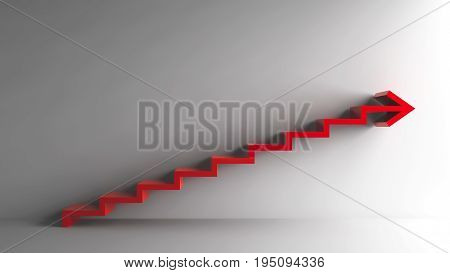 Red business symbol on grey background represents strategic planning growth progress career etc. three-dimensional rendering 3D illustration