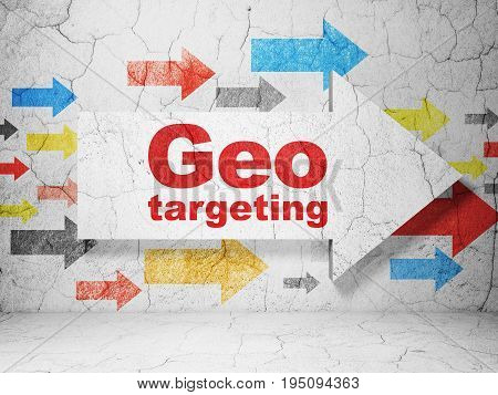 Business concept:  arrow with Geo Targeting on grunge textured concrete wall background, 3D rendering