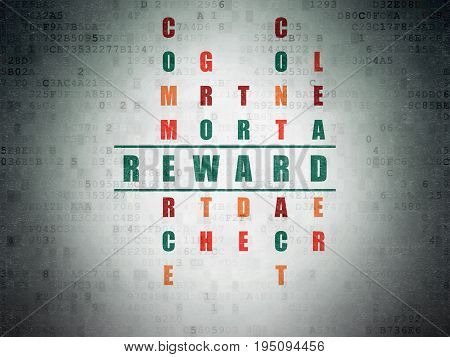 Business concept: Painted green word Reward in solving Crossword Puzzle on Digital Data Paper background