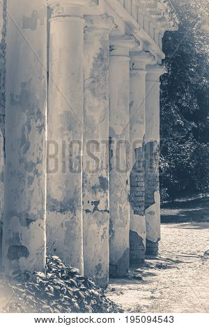 Old vintage photos. Oid Shabby Ruins column park copy space