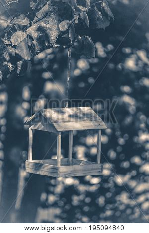 Old vintage photo. Wooden feeder in the woods in Sunny day in summer copy space