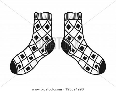 Doodle socks. Black and white illustration for coloring book and pages.