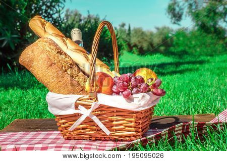 A side view of a picnic hamper with bread, fruit, and a bottle of wine, on a green lawn on a sunny day, with a place for text