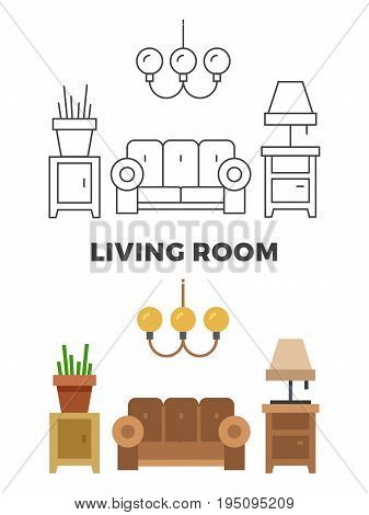 Living room concept - flat and line style living room design. Vector illustration