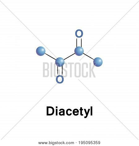 Diacetyl, or butanedione is an organic compound. It is a liquid with an intensely buttery flavor. It is a vicinal diketone with the molecular formula C4H6O2