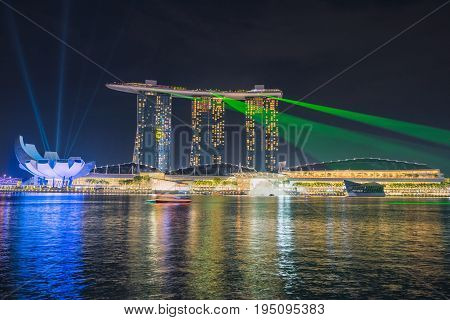 SINGAPORE - October 23 2016 : Light show in Marina Bay Sand. Singapore Marina Bay cityscape.
