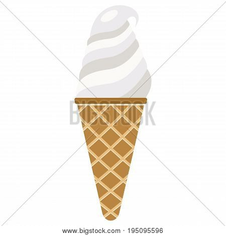 Vector illustration of ice cream. Ice cream in a waffle horn