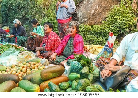Lobesa Village, Punakha, Bhutan - September 11, 2016: Unidentified People At Weekly Farmers Market.