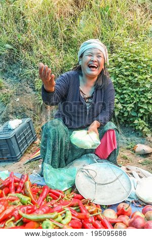 Lobesa Village, Punakha, Bhutan - September 11, 2016: Unidentified Smiling Woman At Weekly Farmers M
