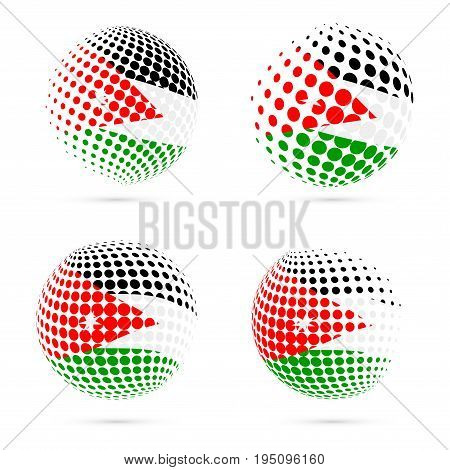 Jordan Halftone Flag Set Patriotic Vector Design. 3D Halftone Sphere In Jordan National Flag Colors