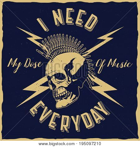 Rock music poster with phrase i need my dose of music everyday vector illustration